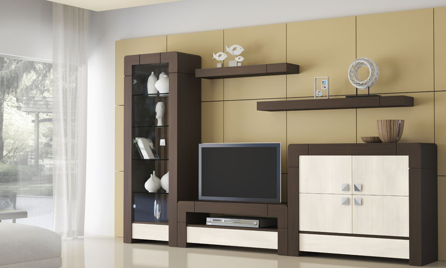 Tv cabinet with doors for Muebles de oficina color wengue