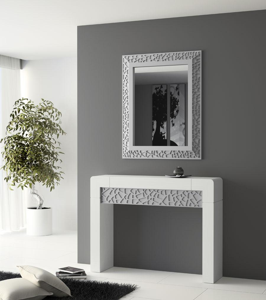 Recibidor vittr blanco y plata 2 devitta muebles rs for Espejos para hall